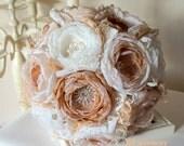 Pale Brown Weddings Bouquet, Antique Pink Ivory Bridal Bouquet, Shabby Chick Brooch Bridesmaids Bouquet, Groom Button Hole, Wrist Corsages
