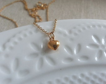 Gold Heart Necklace. Gold Filled Necklace, Gold Heart Pendant, Valentines Day Gift, Hammered Heart, Tiny Heart Charm