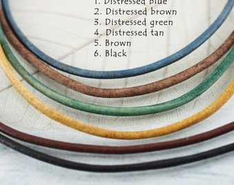 Leather Necklace with Sterling Silver Clasp - 1.5 mm Choose Color and Length