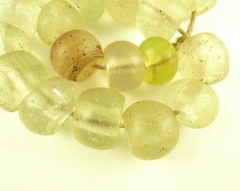 20 pcs clear translucent Venetian African trade beads antique glass scarce old