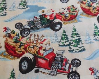Christmas Time Hot Rod Holiday - Alexander Henry Fabric 1 Yard