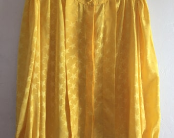 Bright Yellow Vintage Blouse w/Stars Satin