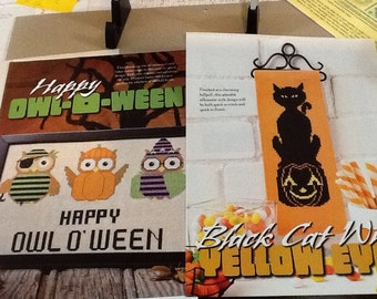 Happy Owl O'Ween and Black Cat Bellpull - Cross Stitch Pattern Only