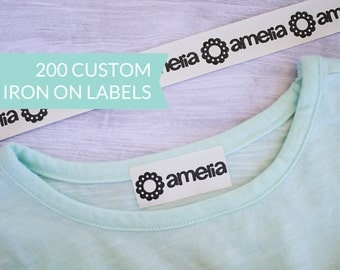 Qty 200 - Custom Iron-On Clothing Label - Personalized Name tags - Iron on labels - Personalized Back to School labels - Daycare labels