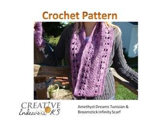 Instant Download Tunisian Crochet Pattern, Circle Scarf Pattern, Crochet Scarf Pattern, Infinity Scarf Pattern, Tunisian Scarf Pattern