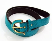 Clearance 1980s Vintage Turquoise  Snake Pattern Guatemalan Belt - Waist Belt - Ladies size 16