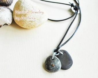Men's necklace- natural jewelry - river stone - organic - urban - unique necklace