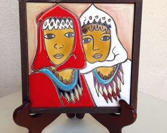Sale Vintage ceramic tile art Israel women by Touch Wood Ltd hand painted 7""
