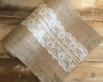 Burlap & Lace Table Runner-Cream Lace Detail-3 Burlap Colors Available-Many Sizes Available-Romantic/Rustic/Country-Barn Wedding-Garden Wed