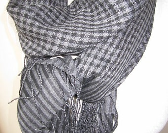 Gray black Plaid scarf,viscose fabric cowl-long-mens scarves-man fashion mad,scottish,Turkish scarves scarves2012
