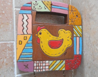 Cute  vintage wood block Key holder with two hooks, carved chicken and doodles hand painted kitchen decor