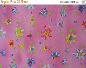 25% OFF Pink Flannel Fabric Cotton Flannel Fabric Floral Cotton Fabric Pink and Blue Pink Fabric - 1 1/2 Yard - CFL1265