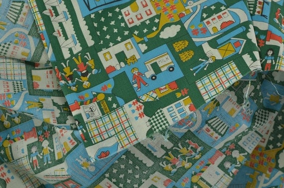 Vintage cotton fabric cotton quilting fabric children for Vintage childrens fabric by the yard