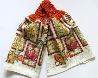 Golden Leaves Crochet Top Kitchen Hand Towel Set of 2