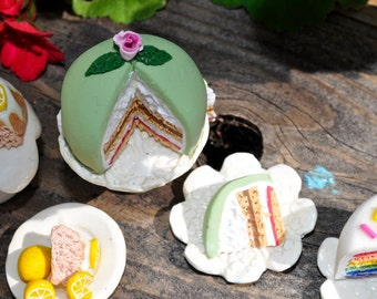 Miniature Princess Cake with two slices, polymer clay, no calories, diet cake