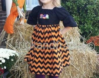 Halloween Chevron Peasant Dress with Applique