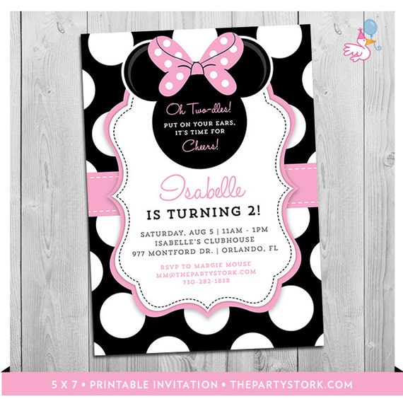 Minnie Mouse Birthday Invitations Printable Girls Party - Minnie mouse birthday invitation images
