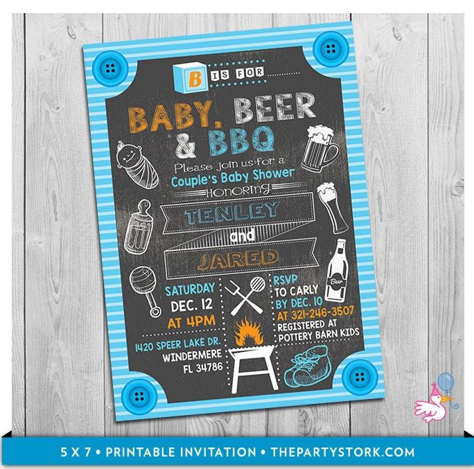 baby beer  u0026 bbq baby shower invitation printable chalkboard