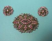 Elegant Pink Rhinestone Jewelry Set, Vintage Classic, Womens Gift