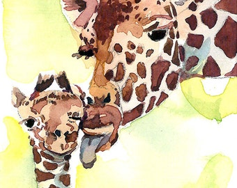 ACEO Limited Edition 2/25- Kissing baby, Giraffe art print of an original watercolor ACEO painting by Anna Lee, Gift idea for animal lovers