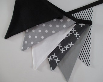 the felix - monochrome black, white and grey fabric banner bunting