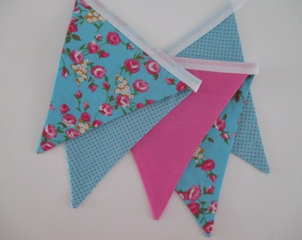 the charlotte - pink, blue, spot floral, flowers, peony, rose, girl, fabric bunting flag banner