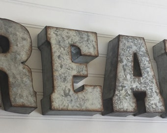 Read Sign - Metal Letter - You Pick Letters - READ -Wall Letter - Rustic Industrial Letters - Nursery - Wedding - Reading Nook - DIY Sign