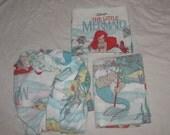 Vintage Disney Little Memaid Twin Sheet Set - Flat Sheet, Fitted Sheet, Pillow Case - Ariel, Flounder, Sebastien, Etc.