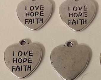 "25  SALE love Hope Faith Heart Shaped Antique Silver Charms  - 5/8"" Invitation Tie On Gift Tag Favors"