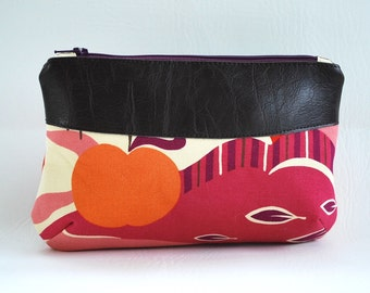 Custom Wide Zippered Pouch, Clutch Wristlet with Leather Accents