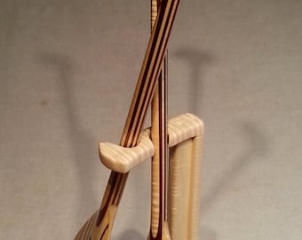 """Wooden Canoe Paddles, Matched Pair of 1/2 Scale, """"Salt and Pepper"""" Design on a Curly Maple Display Stand, 27"""" tall"""