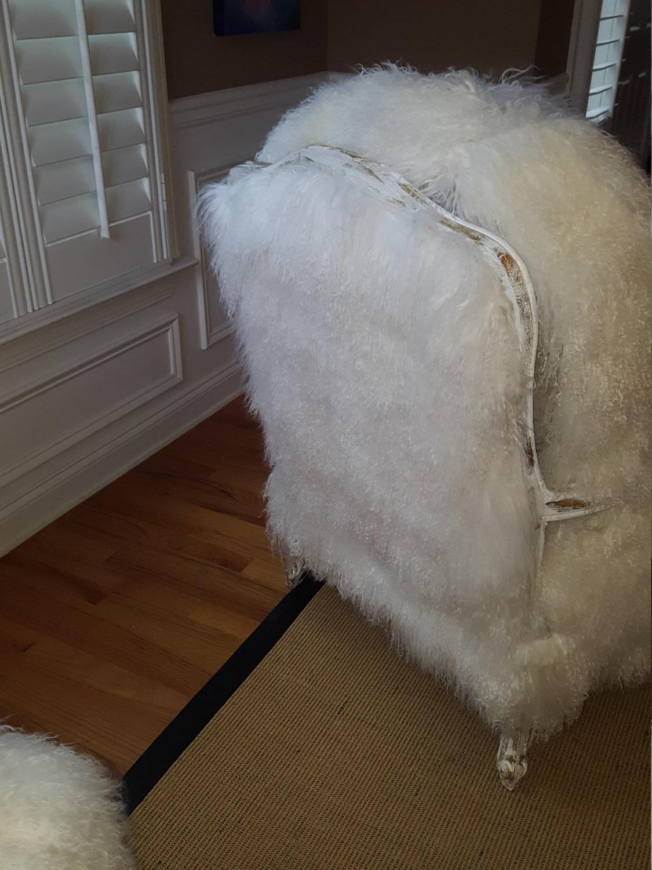 Mongolian Lamb Fur Chair Sheepskin And Ottoman Set