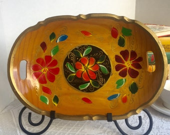 Vintage Toleware Hand Painted Serving Dish / Wooden Bread Bowl with Painted Flowers