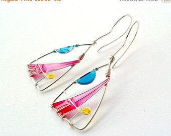 FALL SALE 20% Triangle earrings, pink, yellow and blue earrings, geometric lightweight jewelry