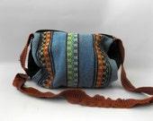 Ethnic Blanket Bag Crossbody Barrel Shape Duffle Handbag Vintage 90s Grunge Hippie Blues Orange Tribal Print Tote Bags 1990s Hippy Boho Bags