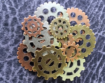 Gear Jewelry, Steampunk Gear Brooches, Steampunk Gear Pins, Gear Pins, Gear Brooch, Multi Colored Gears, Steam Punk Jewellry