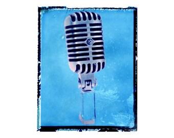 blue mic art print / music gift / rock n roll art / music room decor / guitar gift / boys room / kids room