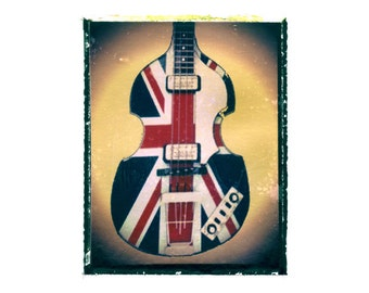 Union Jack bass guitar art print / music gift / rock n roll art / music room decor / guitar gift / man cave art
