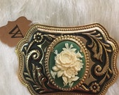 Vintage belt buckle with vintage gree cream rose cameo cabochon handcrafted unique feminie belt buckle gold antiqued floral buckle
