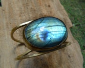 Open Square Brass Cuff with HUGE Labradorite