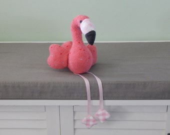 Pink Flamingp Plush Toy, Bird Stuffed Animal, Flamingo Plushie, Sock Animal, Sock Monkey
