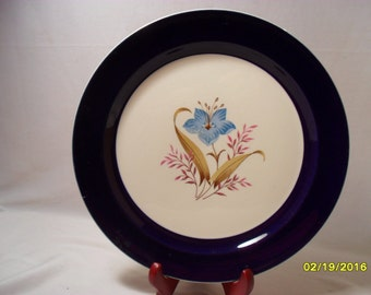 Pretty Taylor Smith USA Blue Edge with Blue Flower 10 Inch China Plate