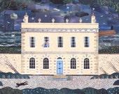 John Fowles,Greeting Card,Lyme Regis,Writers' Houses,Illustration,Literature,Fine Art Card,Naive Art, Booklovers, Sea, Storm, Regency House