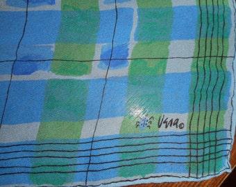 Scarf, Vintage, Vera Neumann, Vera, Ladybug, 1960's, Teal, Green, Sheer, Geometric, Abstract, Mid Century, Checks, Accessory, Watercolor