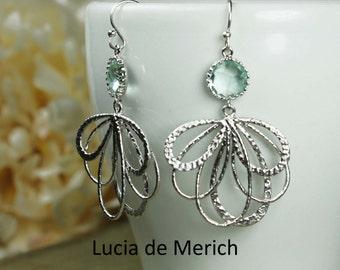 Aqua Dangle Earrings, Drop Earrings, Silver Feather Earrings, Wedding Earrings, Bridesmaid Gift, Wedding Jewelry