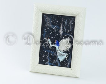 Angel Shadow Box, Celestial Shadow Box, Angel Folk Art, Home Decor, Praying Angel, Celestial Decor, Primitive Angel Wall Art, Holiday Decor