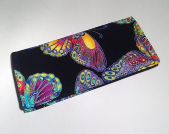 Fabric Checkbook Cover-Colorful Glimmer Butterflies on Black with Black Interior
