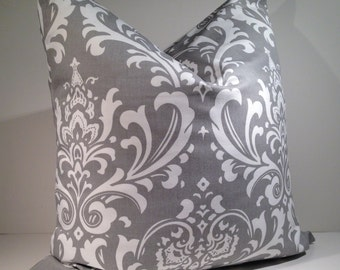 """Decorative Throw Pillow Cover 20"""" x 20"""" Traditions Print in Storm Grey by Premier Prints Fabric"""
