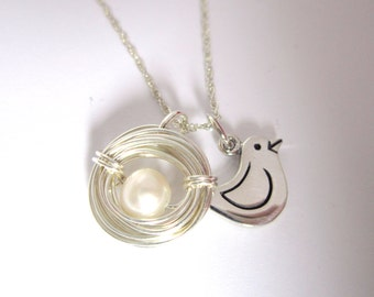 Silver Birds Nest Necklace Bird Charm-Baby Shower Gift-White Pearl-New Mom-Sterling Nest-Mothers Day Gift-