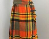ON SALE 1970s wool skirt | vintage 70s plaid kilt